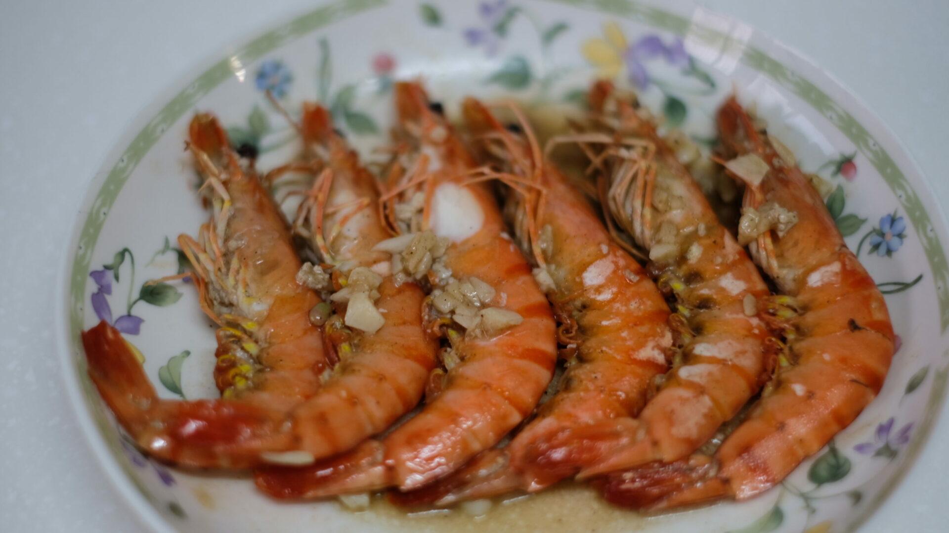 蒜片胡椒鹽蝦